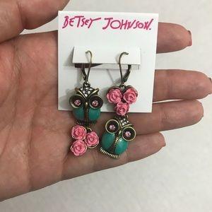 Betsey Johnson Pink & Teal Floral Owl Earrings